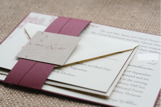 forest wedding invitation suite with stitched belly band paper and