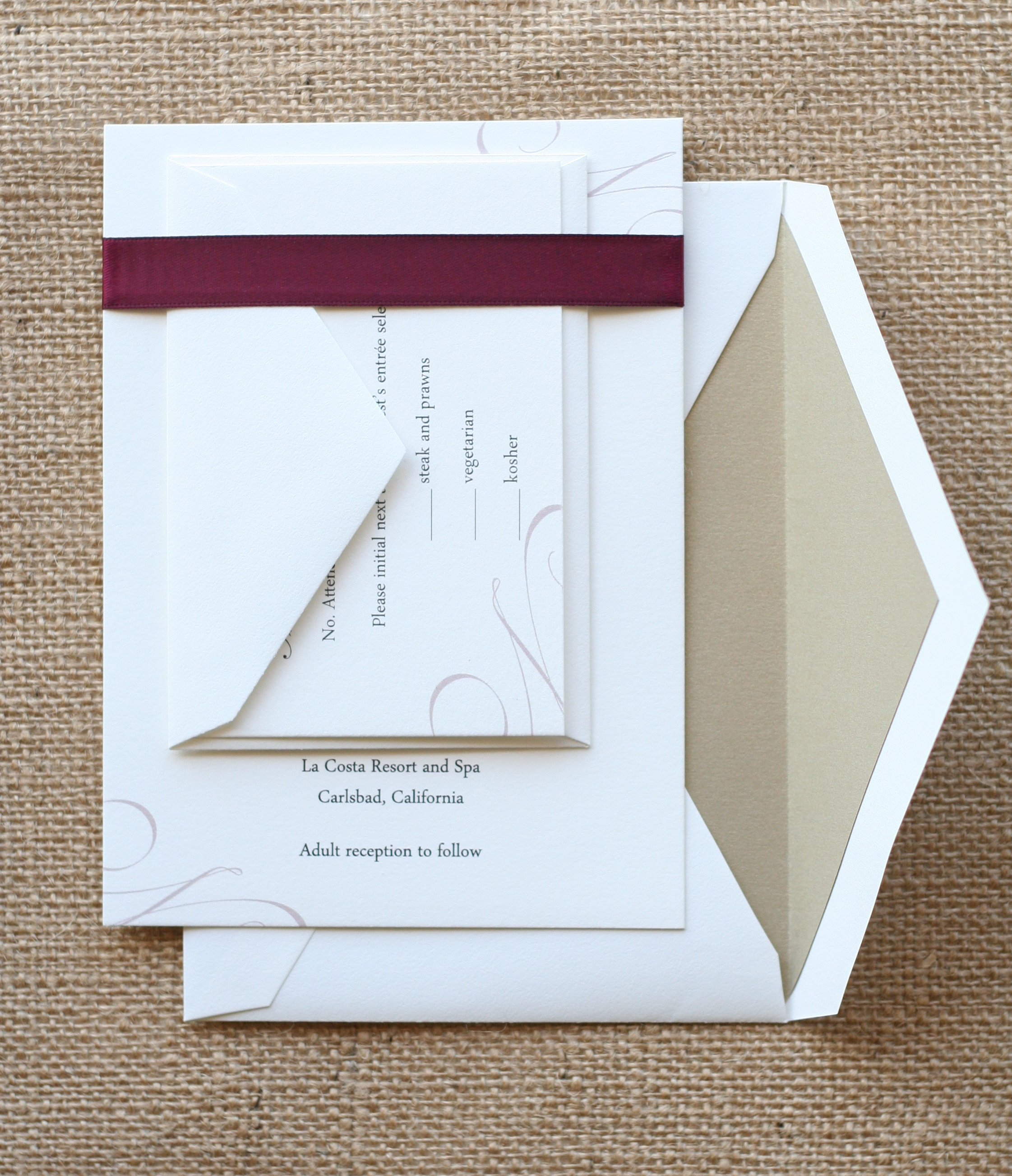 purple gold ribbon invitation wedding - Simple Elegant Wedding Invitations